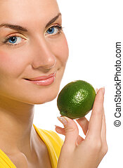 Beautiful girl with citrus isolated on white background