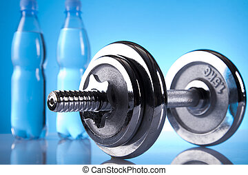dumbells and mineral water