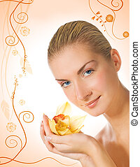 Beautiful girl with aroma bath ball on abstract floral background