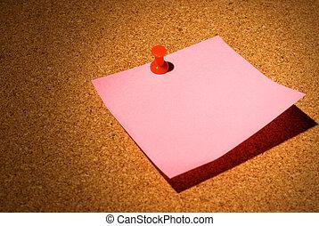 Blank notice on a cork board