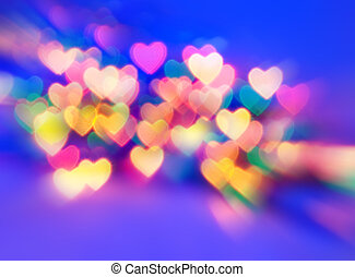 Abstract blurred background natural heart shaped bokeh