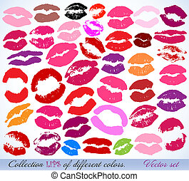 Set of lipstick prints Vector art illustration
