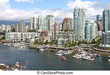 Vancouver BC downtown skyline at False creek Canada. - The...
