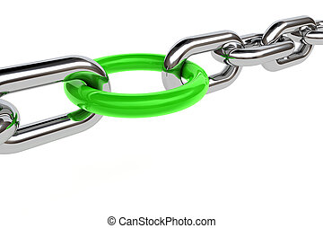 3d render of chain and a green ring on white