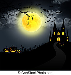 Spooky Halloween house on the moon background