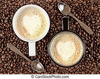Caffe Latte for two - Two cups with Cafee Latte with heart...