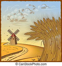 Wheat fields - Retro landscape with wheat fields in woodcut...