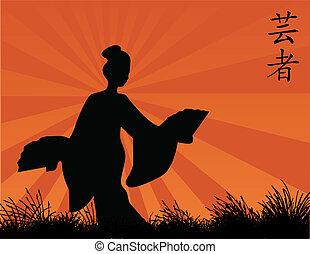 geisha - vector illustration of a geisha