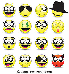 smileys - vector set of various smileys