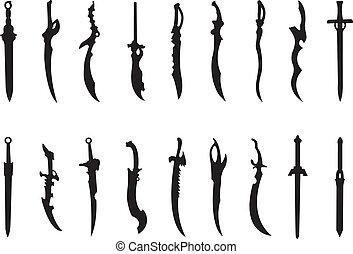 swords - vector set of various antique swords