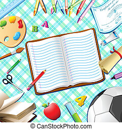 School Kit - illustration of book,pen,pencil and other...