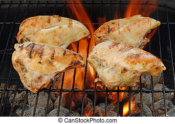 four barbecue chicken breasts