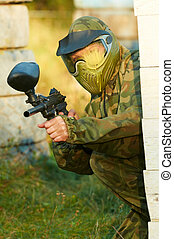 paintball player head shot - paintball sport player wearing...