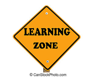 learning zone sign isolated over a white background