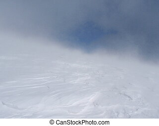 Blizzard - A snowstorm high into winter mountains