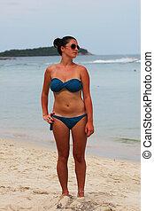 Woman on a beach in Thailand.