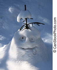 Funny snowman - A snow man pulling out his tongue
