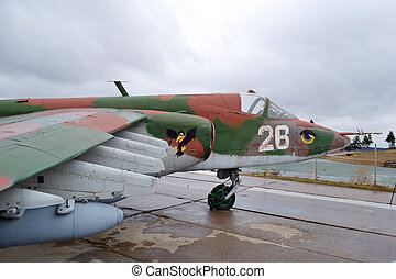 Detail of military aircraft closely obsolete