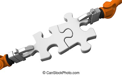 Robot holding jigsaw puzzle piece on a white background.