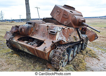 Rusty old german military tank - The photo of rusty german...
