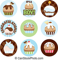 Illustrated Cupcake Circles For Boys - Cute illustrated...