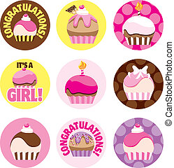 Illustrated Cupcake Circles For Gir - A group of cupcake...