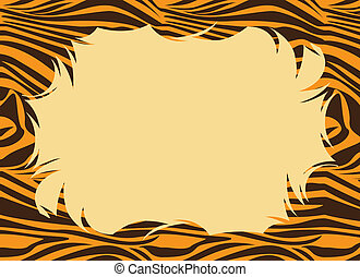 Tiger Fur Print Border - Frame with a tiger print.