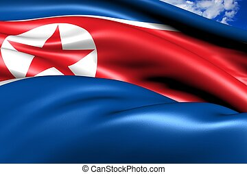 Flag of Northern Korea against cloudy sky. Close up.