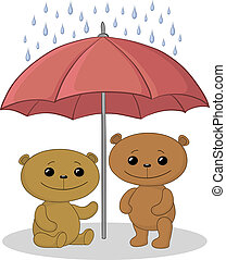 Teddy bears and umbrella - Vector, two toy teddy bears an...
