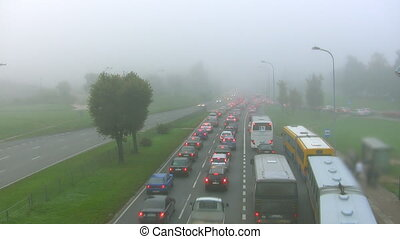 Morning traffic in the fog