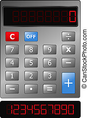 Vector Calculator - Vector Metal Calculator with Red Digits