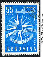 Compass Rose - ROMANIA - CIRCA 1960: stamp printed by...