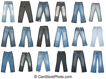 Jeans trousers collection, isolated on white.