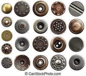 Jeans buttons - Metal jeans buttons and rivets.