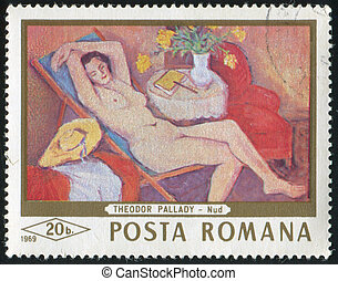 Reclining woman - ROMANIA - CIRCA 1968: stamp printed by...