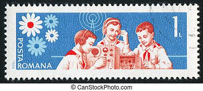 pioneer - ROMANIA - CIRCA 1968: stamp printed by Romania,...