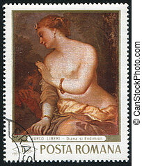 Diana - ROMANIA - CIRCA 1969: stamp printed by Romania,...