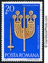 Spindle - ROMANIA - CIRCA 1978: stamp printed by Romania,...