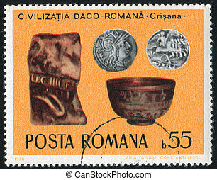 Inscribed Stone Tablets - ROMANIA - CIRCA 1976: stamp...