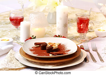 Christmas place setting - dessert with hot wine punch