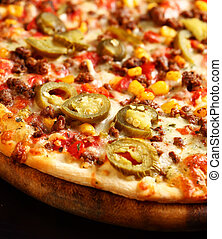 Mexican pizza - Tradition Mexican pizza with chili, beef and...