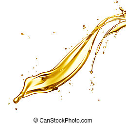 oil splash - engine oil splashing isolated on white...