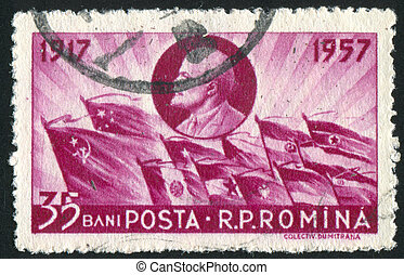 Lenin - ROMANIA - CIRCA 1957: stamp printed by Romania,...