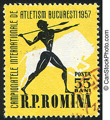Javelin thrower - ROMANIA - CIRCA 1957: stamp printed by...
