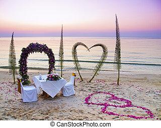 Romantic dinner on a beach