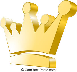 3d icon - Golden Crown - 3d icon of a golden crown