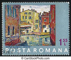 Painting - ROMANIA - CIRCA 1972: stamp printed by Romania,...