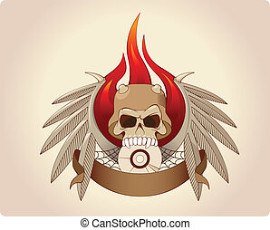 Scull in horned helmet with wings and fire
