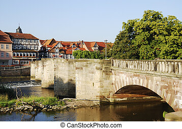 Historic bridge in Hannoversch M?nden (Germany) accross the...