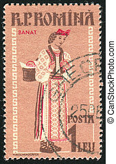 Regional Costumes - ROMANIA - CIRCA 1958: stamp printed by...